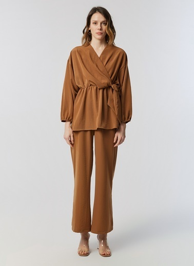 Monamoda Elastik Bol Paça Pantolon Camel